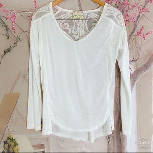 Free People White Sheer Panel Floral Blouse